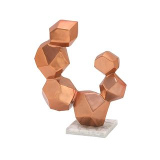 Brilliant Aluminum Sculpture With Marble Base Copper