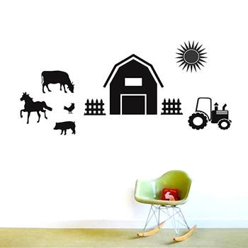 Sweetums Farm Set Wall Decals (Gold), Size Small (Vinyl)