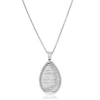 Fremada Rhodium Plated Sterling Silver Diamond-cut Teardrop Cage Pendant on Cable Chain Necklace