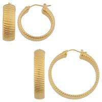 Oro Forte 14k Yellow Gold High Polish Bold Ribbed Round Hoop Earrings (small or big)