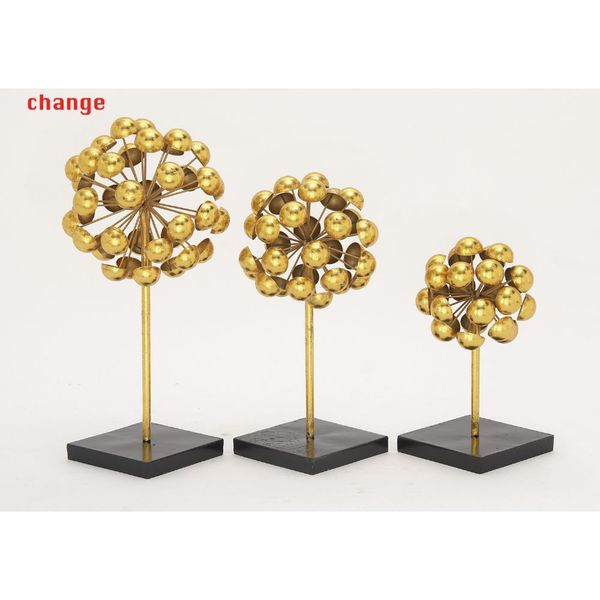 Stylish Metal Gold Sculpture (Set Of 3)