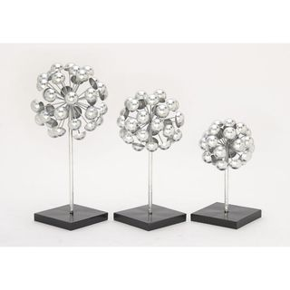 Strick & Bolton Buri Decorative Silver Sculpture (Set of 3)