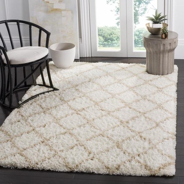 Safavieh Indie Shag Trellis Ivory/ Light Beige Polyester Rug (8' x 10')