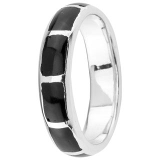 Sterling Silver Black Onyx Inlay 5 mm Band