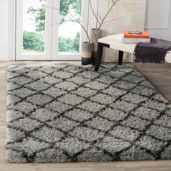 Safavieh Indie Shag Trellis Grey/ Dark Grey Polyester Rug - 8' x 10'