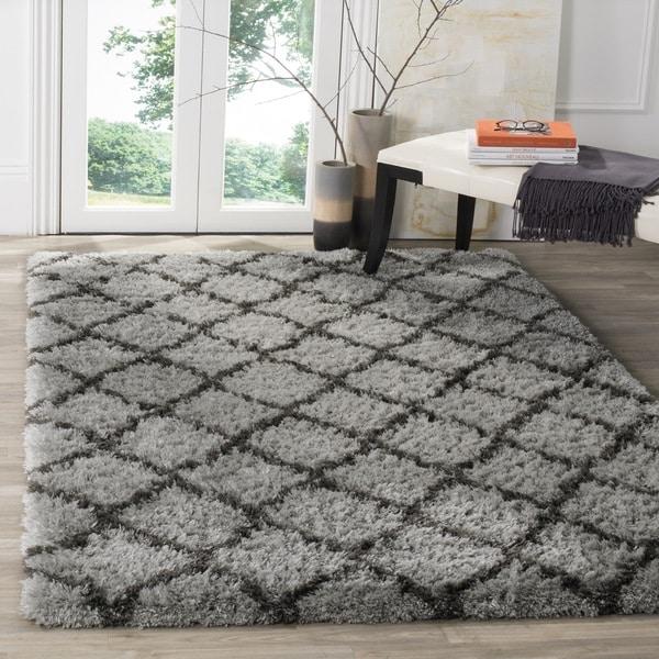 Safavieh Indie Shag Trellis Grey/ Dark Grey Polyester Rug (9' x 12')