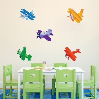 Airplanes Printed Wall Decals Set