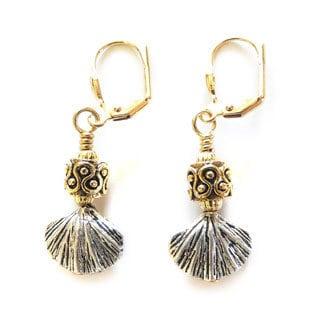 Palmtree Gems 'Francesca' Metal Shell Dangle Earrings