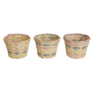Whitewashed Woven Bamboo Baskets with Pastel Accents (Set of 3)