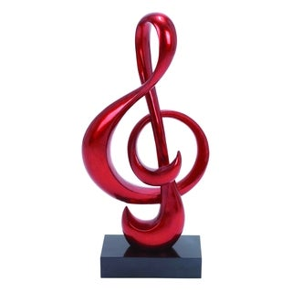 Strong Polystone Foil Finish Red Sculpt In Musical Note Shape