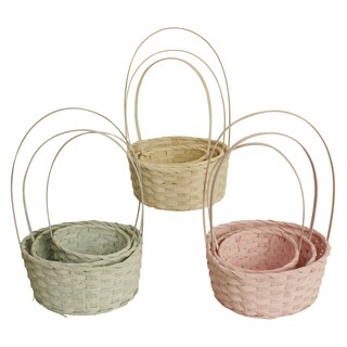 Round Pastel Woven Bamboo Basket, Set of 3, Seafoam Green, Soft Yellow and Pink, Varying Sizes