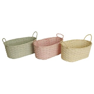 Oval Pastel Woven Bamboo Basket, Set of 3, Seafoam Green, Soft Yellow and Pink, 13.5 x 7 x 5.75 in
