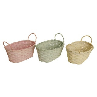 Oval Pastel Woven Bamboo Basket, Set of 3, Seafoam Green, Soft Yellow and Pink, 9.5 x 5.25 x 3.75 in