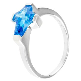 Sterling Silver Blue Cubic Zirconia Cross Ring