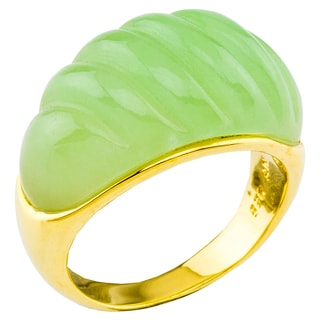 14K Gold Carved Green Jade Ring