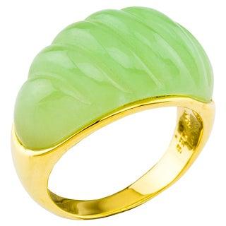 14K Gold Carved Green Jade Ring