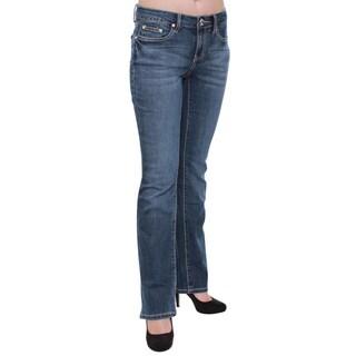 Women's Dark Wash Rhinestone Rear Pockets Bootcut Jeans
