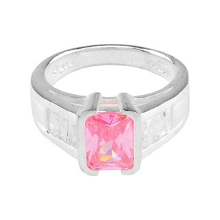Radiant Cut Pink Cathedral Style Engagement Ring