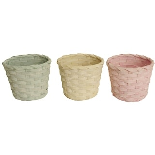 Round Pastel Bamboo Basket, Set of 3, Seafoam Green, Soft Yellow and Pink, 5 x 4 in
