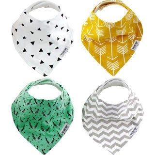 """Baby Bandana Drool Bibs, Unisex 4-PACK Absorbent Organic Cotton, Modern Baby Gift Set """"BOHEMIAN"""" by Two Tree Baby"""