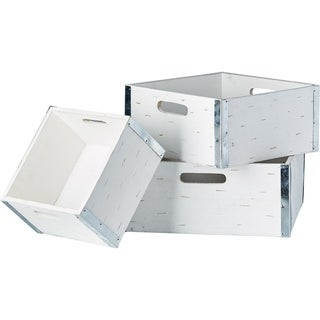 Different Sized Wooden Crate, Set of 3, White
