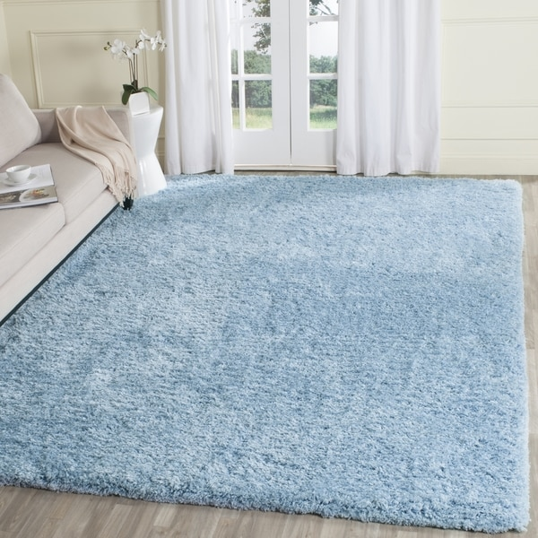 safavieh supreme shag light blue polyester rug 8 39 x 10 39 free shipping today overstock. Black Bedroom Furniture Sets. Home Design Ideas