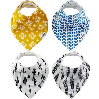 """Baby Bandana Drool Bibs, Unisex 4-PACK Absorbent Organic Cotton, Modern Baby Gift Set """"SANTE FE"""" by Two Tree Baby"""