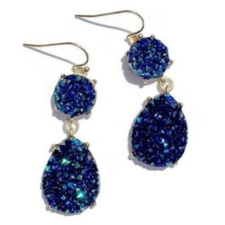 Pretty Little Style Gold Cabochon Blue Acrylic Druzy Teardrop Earrings