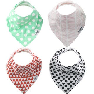 """Baby Bandana Drool Bibs for Girls 4-PACK Absorbent Organic Cotton, Modern Baby Gift Set """"SWEET"""" by Two Tree Baby"""
