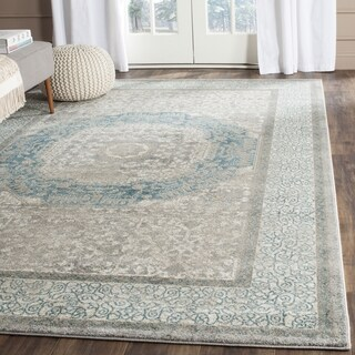 Safavieh Sofia Vintage Medallion Light Grey / Blue Distressed Rug (8' x 10')