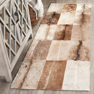 Safavieh Handmade Studio Leather Rustic Animal Beige/ Brown Rug (8' x 10')