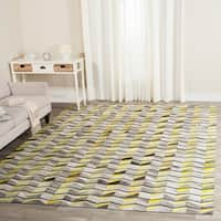 Safavieh Handmade Studio Leather Modern Abstract Ivory/ Yellow Leather Rug (8' x 10')