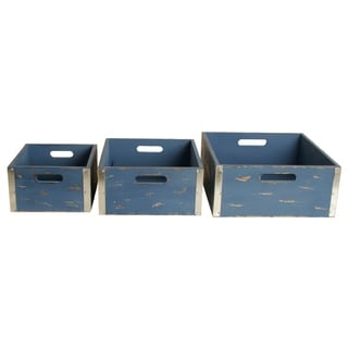 Different Sized Wooden Crate, Set of 3, Blue
