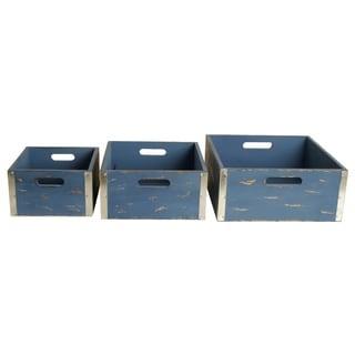 Wald Imports Blue Wood Storage Crates (Set of 3)