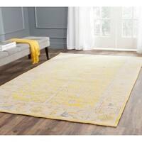 Safavieh Hand-knotted Stone Wash Yellow Wool Rug - 10' x 14'