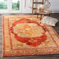 Safavieh Hand-Knotted Tangier Red Orange/ Beige Wool Rug (8' x 10') - 8' x 10'