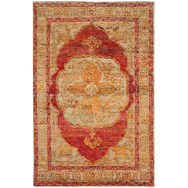 Safavieh Hand-Knotted Tangier Red Orange/ Beige Wool Rug - 8' x 10'