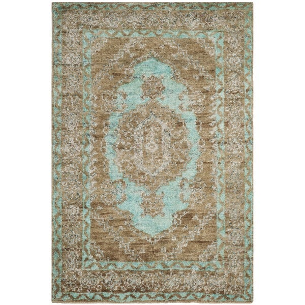 Safavieh Hand-Knotted Tangier Seafoam/ Beige Wool Rug - 8' x 10'
