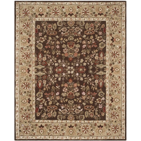 Safavieh Hand-hooked Total Perform Brown/ Green Acrylic Rug - 8' x 10'