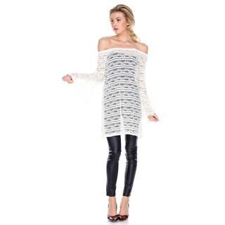 Stanzino Women's Nylon/Spandex Off-shoulder Lace Cover-up Tunic