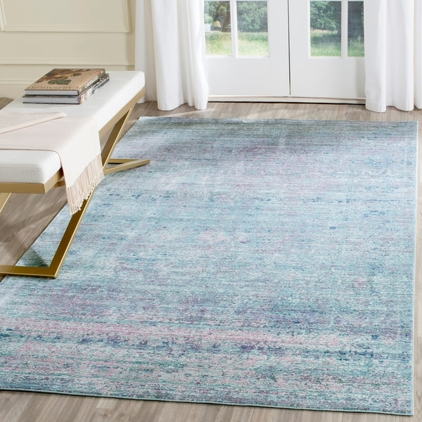 Safavieh Mystique Watercolor Purple/ Multi Silky Rug - 9' x 12'