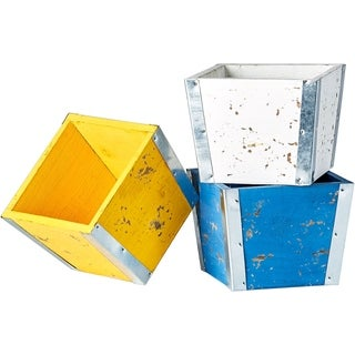 Set of 3 Blue, Yellow and White Wood Planter Boxes