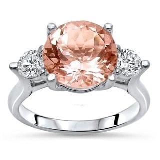 Noori 18k White Gold 3 2/5ct TGW Morganite and 1/2ct TDW Diamond Engagement Ring (F-G, SI1-SI2)