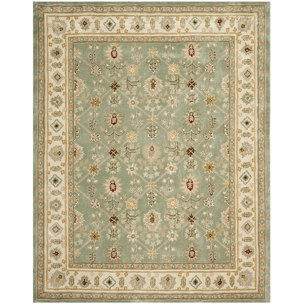 Safavieh Hand-hooked Total Perform Green/ Ivory Acrylic Rug - 9' x 12'