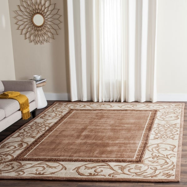 Safavieh Hand-hooked Total Perform Mocha/ Ivory Acrylic Rug - 9' x 12'