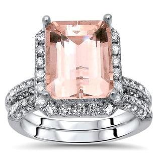 Noori 14k White Gold 4 1/3ct TGW Emerald-cut Morganite and Diamond Engagement Ring Set (I-J, I1-I2)