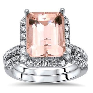 Noori 14k White Gold 4 1/3ct TGW Emerald-cut Morganite and Diamond Engagement Ring Set (I-J, I1-I2)
