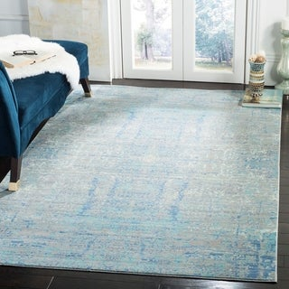 Safavieh Mystique Watercolor Light Blue/ Multi Silky Rug (10' x 13')