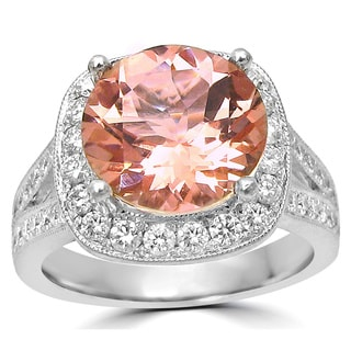Noori 14k White Gold 3ct TGW Morganite and 3/4ct TDW Diamond Engagement Ring (F-G, SI1-SI2)