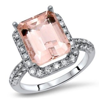 Noori 14k White Gold 3 3/4ct TGW Morganite and 3/5ct TDW Diamond Engagement Ring (I-J, I1-I2)